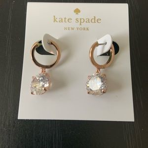 Kate spade in a flash rose gold clear drop earring